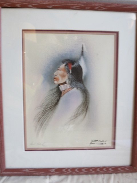 10: ROBERT REDBIRD ,PENCIL SIGNED ART,NATIVE AMERICAN