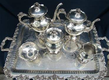 17: INTERNATIONAL SILVER CO. FRENCH TEA SET WITH TRAY