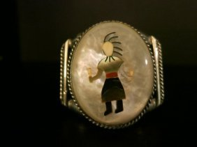 STERLING SILVER /MOTHER OF PEARL,NATIVE CUFF