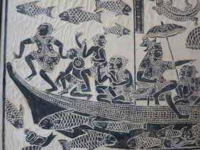 73: BURMESE ART PIECE,FISHING CREW WITH SHIP