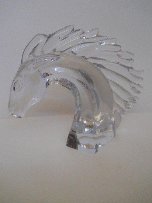 75: CRYSTAL HORSE HEAD ,SIGNED DAWN FRANCE ,LRG