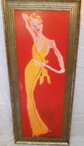 77: GLAMOROUS LADY PAINTING,RED/YELLOW