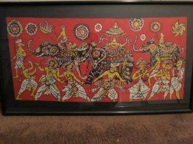84: BATIK INDIAN,ELEPHANT CELEBRATION,FRAMED