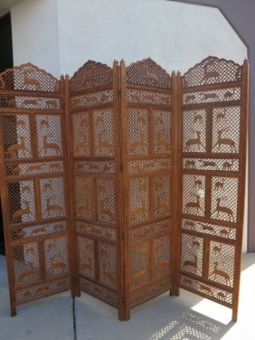 85: CARVED WOODEN 4 PANEL SCREEN,CAMELS /ANTELOPE