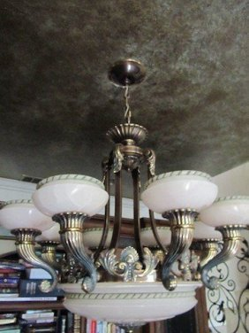 95: ANTIQUE MARBLE BRONZE CHANDELIER,POLISHED MARBLE