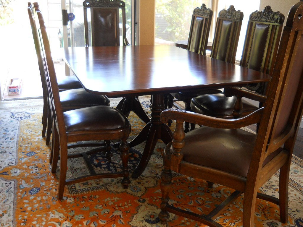 99: ANTIQUE DINING SET ,4 LEAVES,8 CHAIRS,FRENCH
