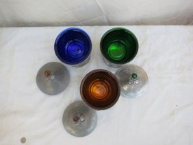ANTIQUE PEWTER 3 COLORED GLASS,COVERED BOWLS