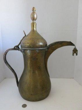 130: VINTAGE ARABIC COFFEE/WINE EWER,STAMPED.LRG