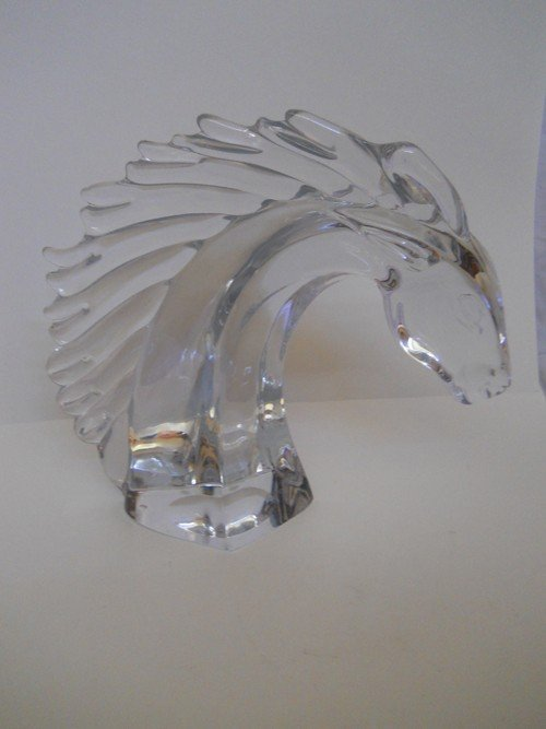 18: CRYSTAL HORSE HEAD,LARGE,DAWN FRANCE SIGNED