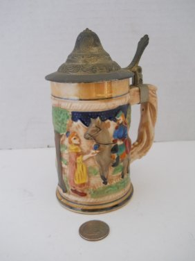 GERMAN STEIN WITH PEWTER LID
