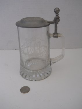ETCHED GLASS STEIN WITH SHIPS/PEWTER LID