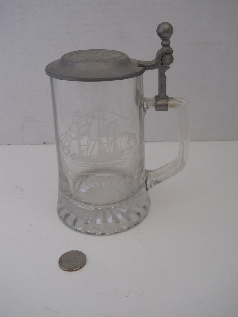 35: ETCHED GLASS STEIN WITH SHIPS/PEWTER LID