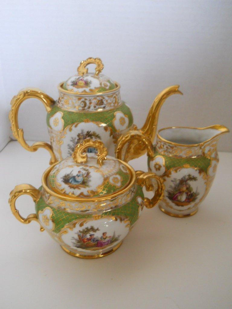 44: ANTIQUE DRESDEN TEA SET,GOLD GREEN,GERMANY SIGNED