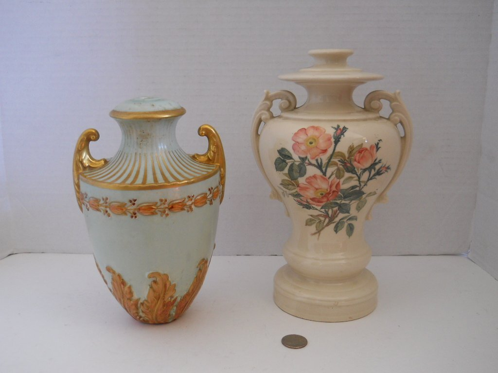 48: 2 URNS,HAND PAINTED,MIXED URNS