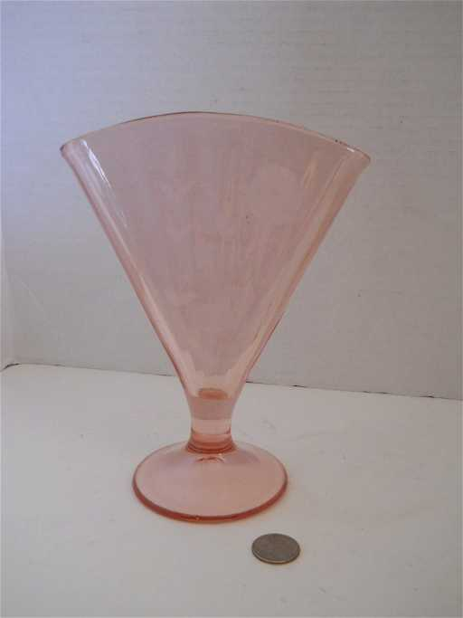 51 Depression Glass Pink Fan Vase Etched