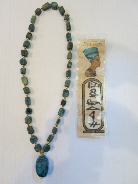 141: VINTAGE CARVED SCARAB NECKLACE, FAIENCE EGYPTIAN
