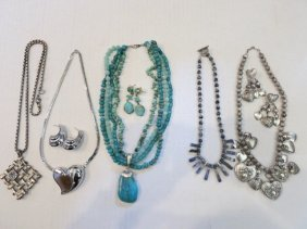 VINTAGE JEWELRY LOT, STERLING SILVER, TURQUOISE
