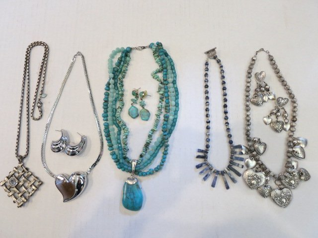 142: VINTAGE JEWELRY LOT, STERLING SILVER, TURQUOISE