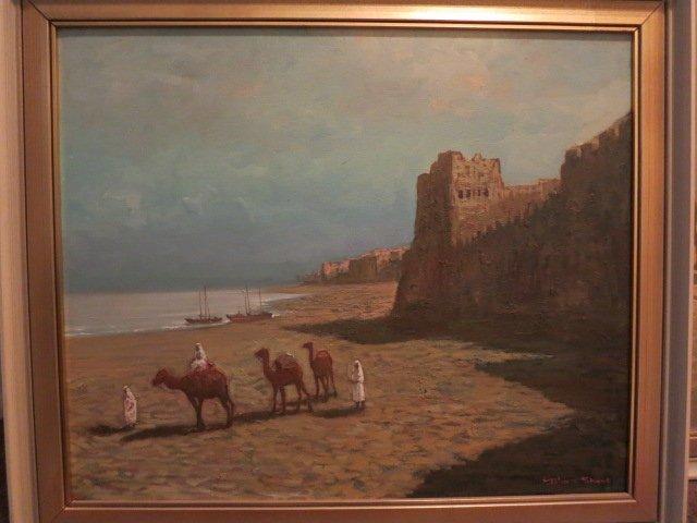 235: OIL ON CANVAS, SAUDI ARABIAN, CAMELS, SIGNED