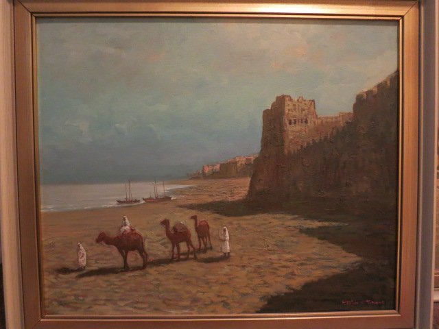 235: OIL ON CANVAS, SAUDI ARABIAN, CAMELS, SIGNED