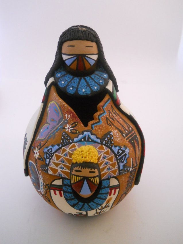 200: PAINTED AND CARVED POTTERY JUG SIGNED S. SARRACINO