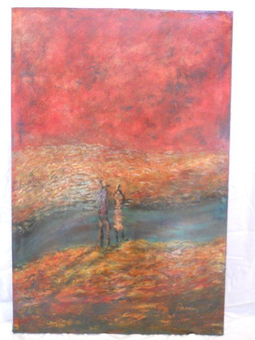 203: OIL PAINTING ON CANVAS SIGNED BY PAMELA