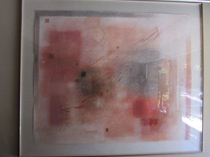 208: GEO ABSTRACT PAINTING, SIGNED SHERRY SCHRUT