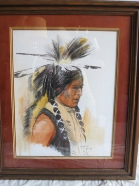 7: NATIVE ARTIST PAT MCALLISTER,SIGNED, WARRIOR