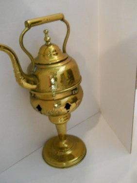 19: ANTIQUE BRASS TEA POT /STAND BRASS..17""