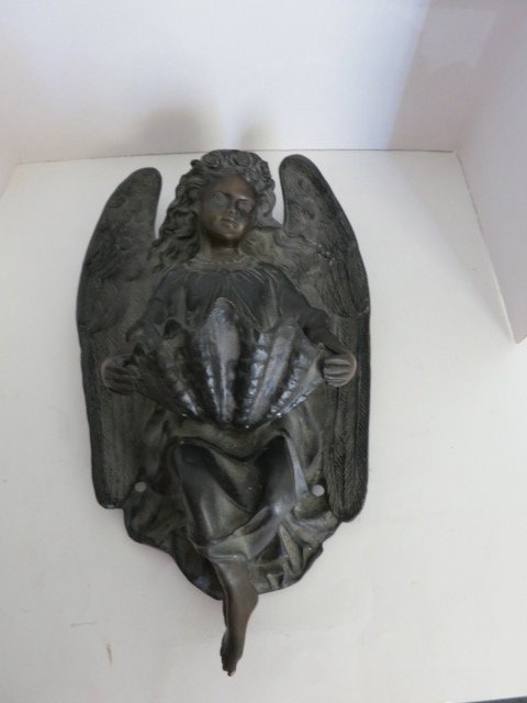 ANTIQUE HENRI DUMAIGE 1838 BRONZE ANGEL SIGNED/DATED