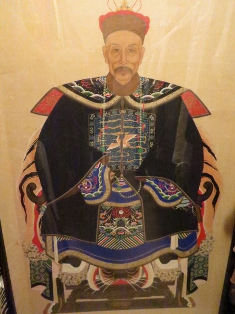 467: ANTIQUE ORIENTAL CHINESE EMPEROR SCROLL WATERCOLOR