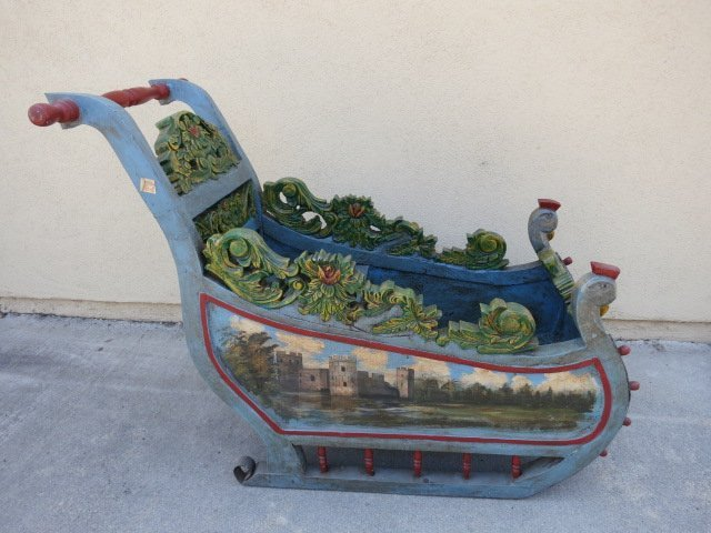 11: WOODEN SLEIGH HAND CARVED/PAINTED,LIFE SIZE