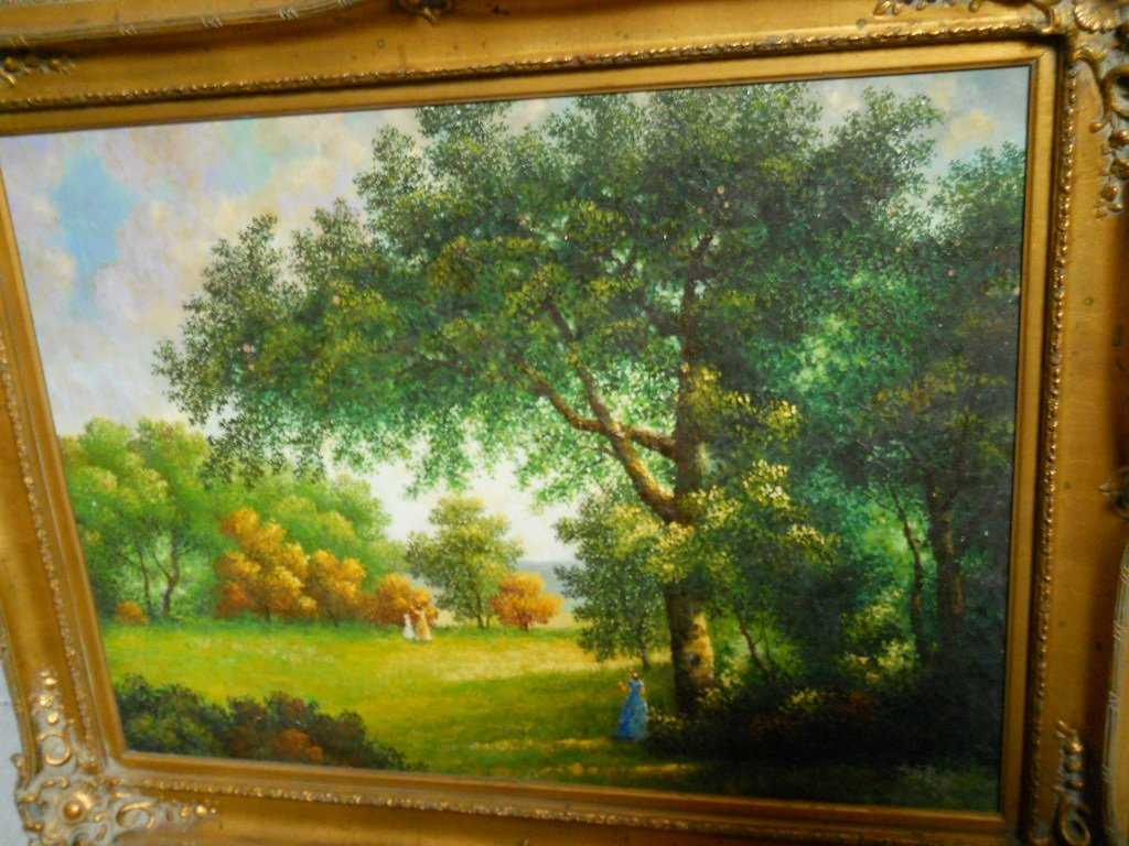 03: SIGNED OIL ON CANVAS,FOREST SCENE 4ft