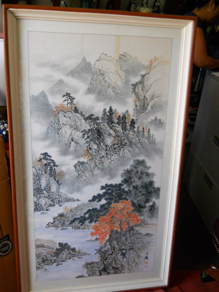 8: CHINESE PAINTED SCROLL,SIGNED,STAMPED,NONG