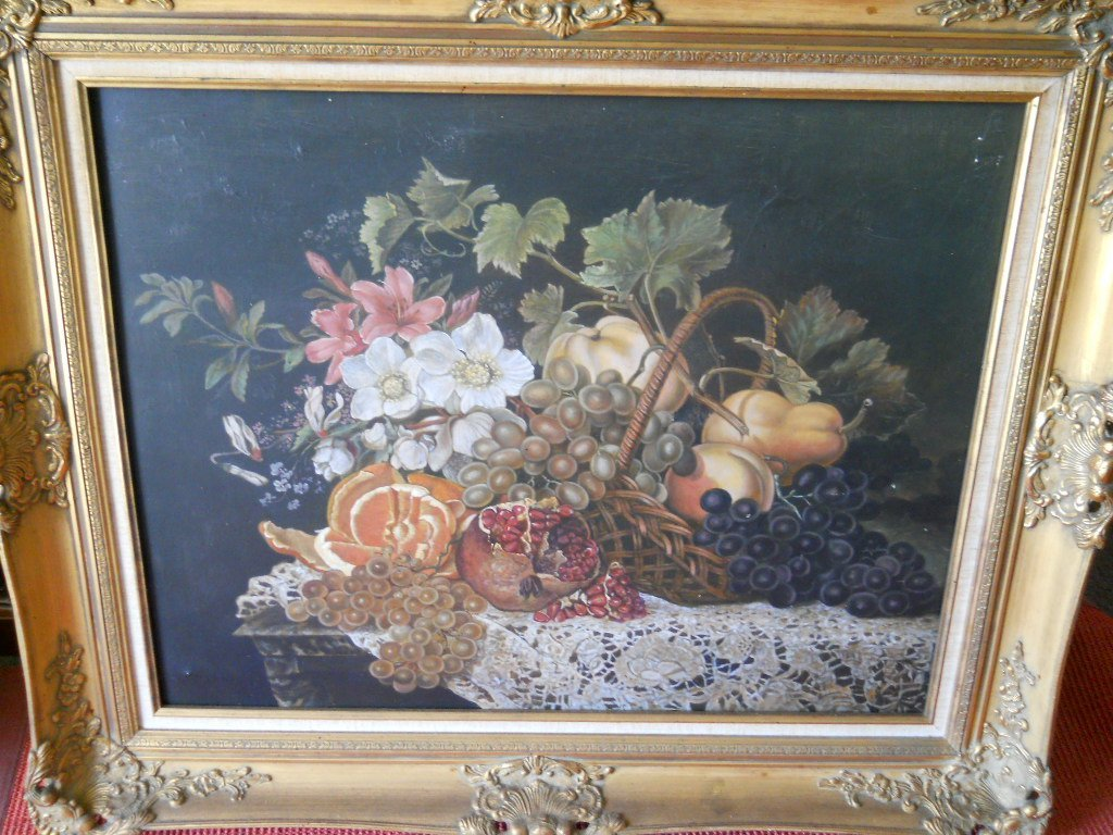 13: OIL ON CANVAS,SIGNED,STILL LIFE FRUIT,