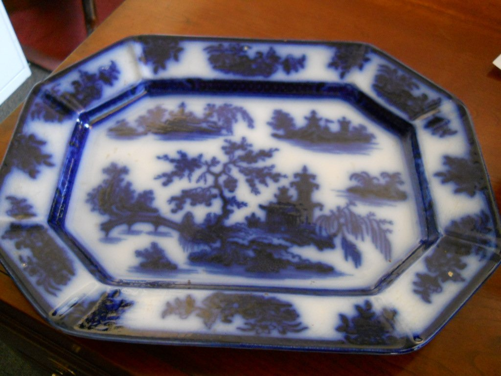 15: ANTIQUE FLOW BLUE IRONSTONE WEDGEWOOD PLATTER 17""