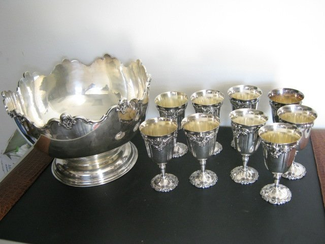 24: ANTIQUE SILVER PLATED SHEFFIELD PUNCH BOWL,CHALICES
