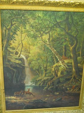 5:XL, OIL ON CANVAS,SIGNED, FOREST SCENE WITH DEER ,6FT