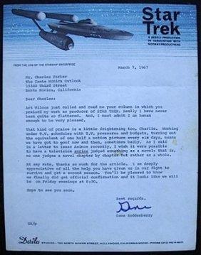 7: GENE RODDENBERRY ,STAR TREK,AUTOGRAPHED LETTER 1967,
