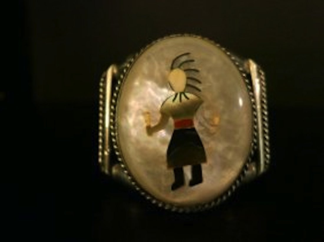 VINTAGE HOPI,STERLING CUFF,MOTHER OF PEARL