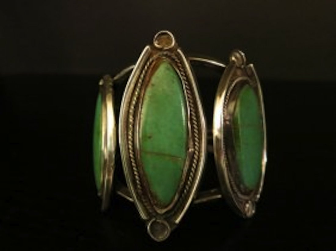 STERLING SILVER 3 GEM TURQUOISE CUFF