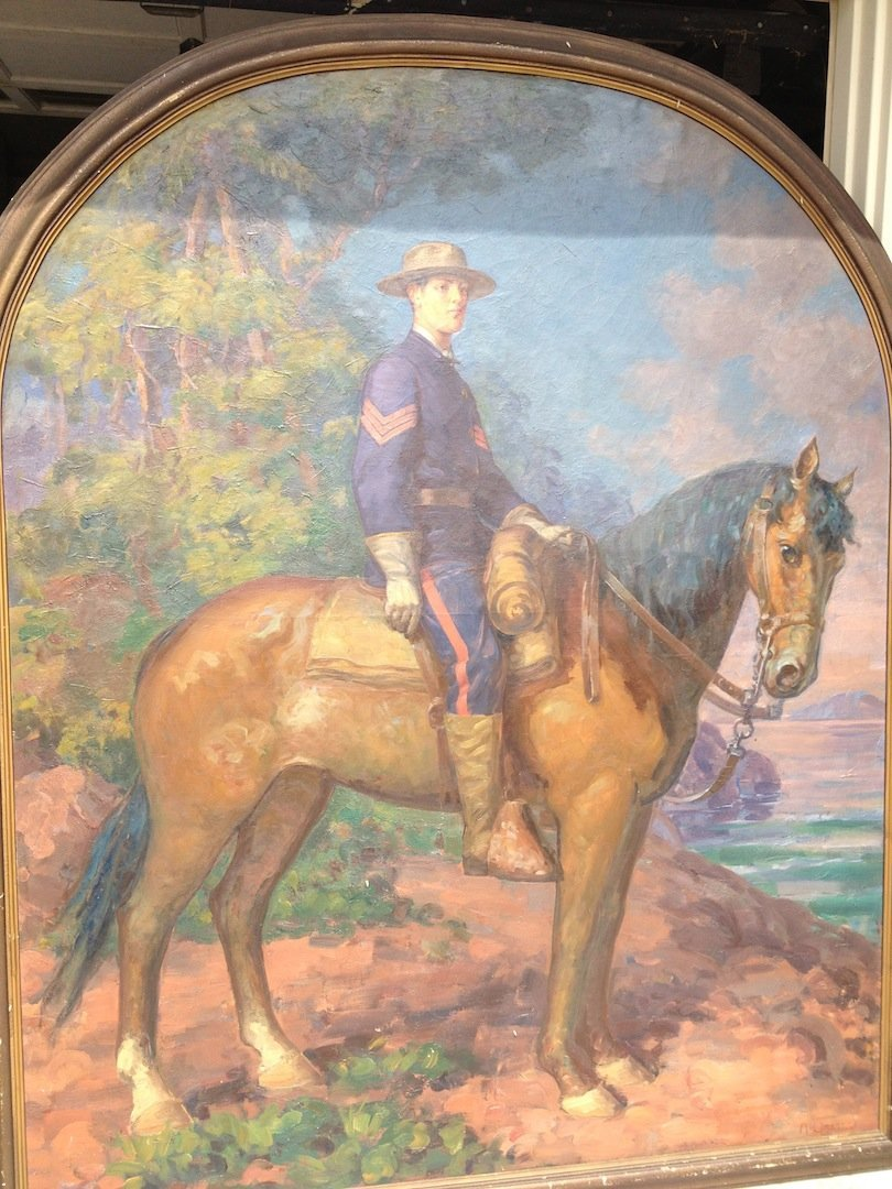 1800s OIL PAINTING ,ARTURO ORSELLI ,SOLDIER/HORSE