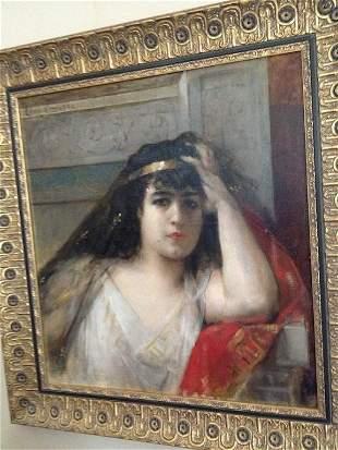 LEON COMERRE,OIL ON CANVAS,MOROCCAN WOMAN