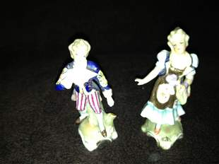 MEISSEN 2PC LADY AND GENT FIGURINE