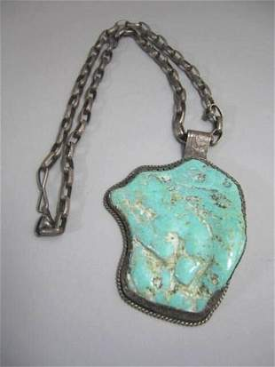Rare Sterling Silver & Turquoise Necklace