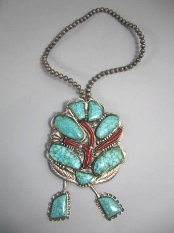 4 Navajo Turquoise & Coral Necklace