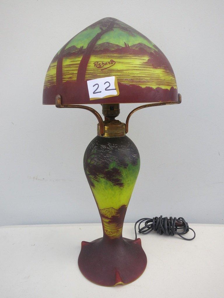 Cameo Glass Scenic Lamp signed  Richard