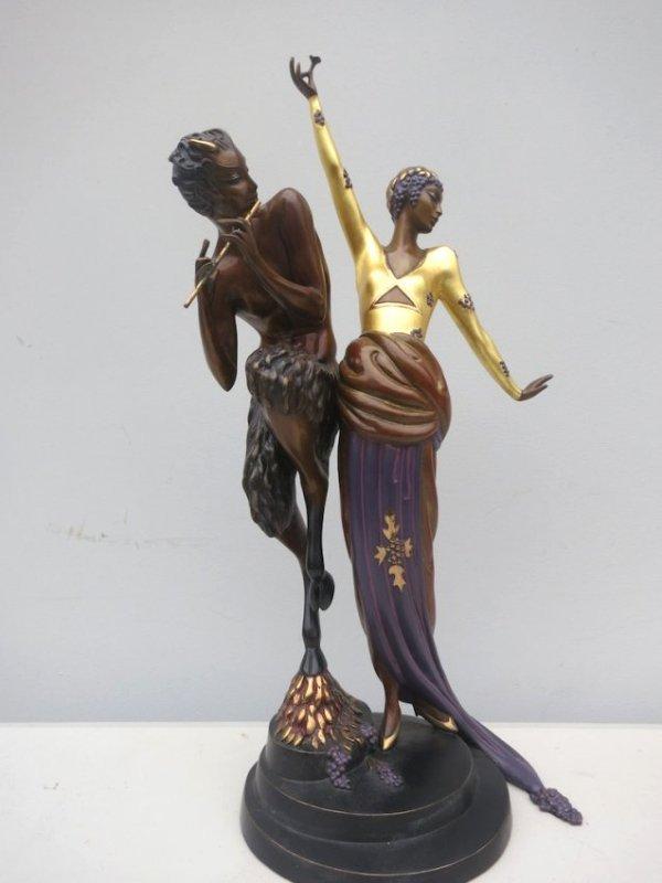"""Erte Bronze Statue """"Woman and Satire"""""""