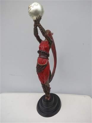 "Erte Bronze Sculpture ""Dancer with Orb"""