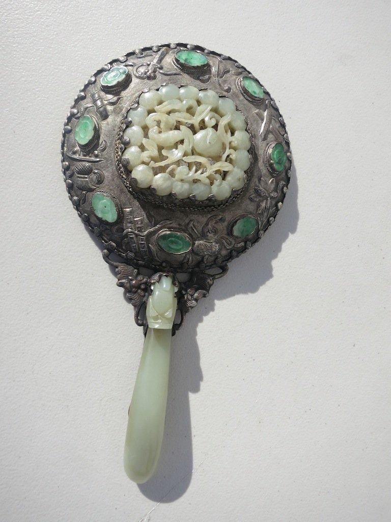 Antique Chinese Jade-Set Hand Mirror